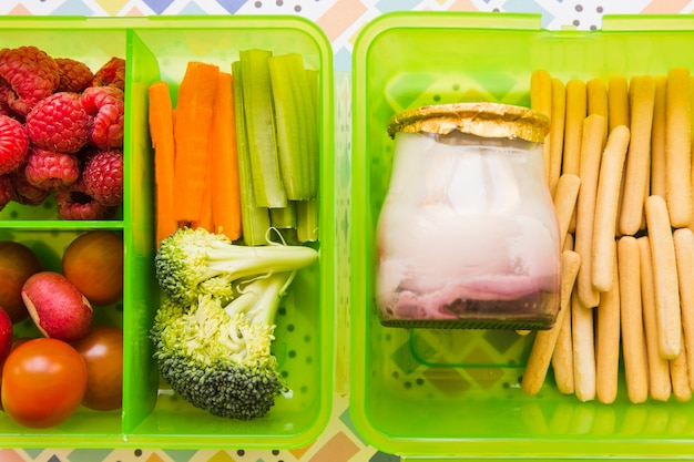 Close-up food in lunchbox