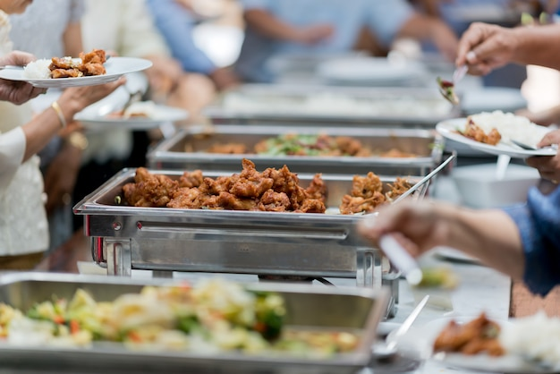 Close up on food serving at an event