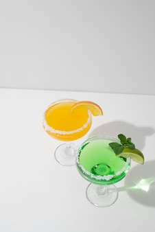 Close up on foods cocktails in tall glass