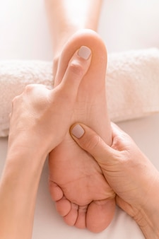 Close-up foot massage concept