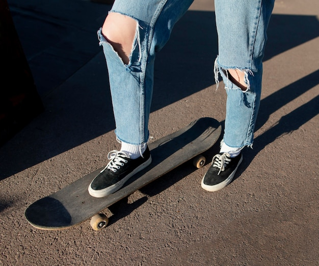 Close up foot on skateboard