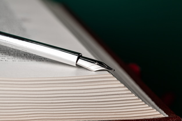 Close up of a fountain pen on a book