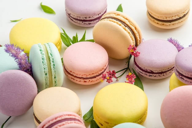 Close up of french delicate macaroons