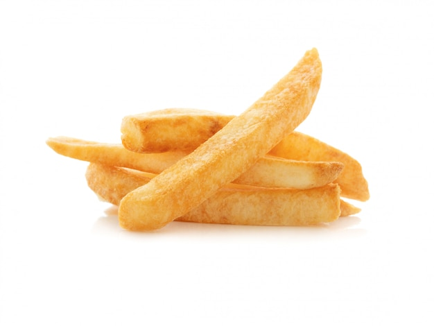 Close up a french fries on white