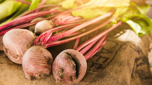 Close-up of fresh beetroot on display at market stall