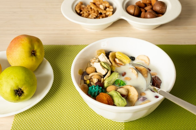 Close up fresh breakfast arrangement
