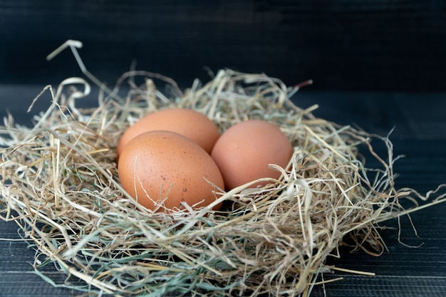 Close up of fresh brown chicken eggs in hay nest on black wood