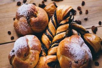 Close-up fresh buns and raisins