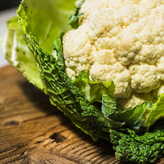 Close-up of fresh cauliflower on wooden table