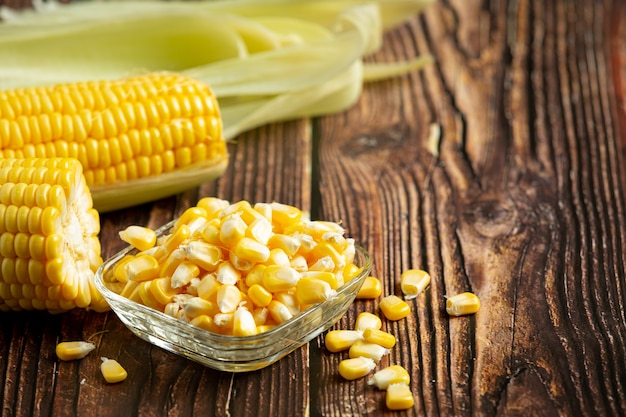 Close up on fresh corn ready to eat