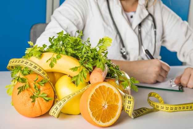 Close-up of fresh fruits in dietician's clinic