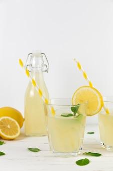 Close up fresh homemade lemonade arrangement