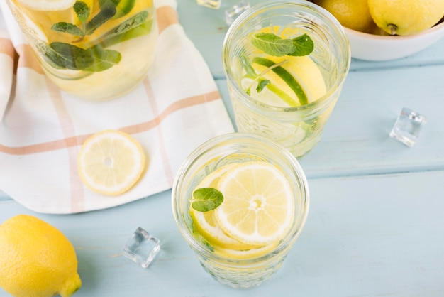 Close-up fresh lemonade on the table