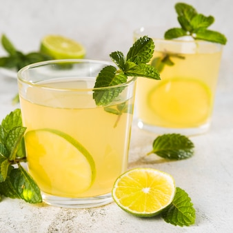 Close-up fresh lemonade