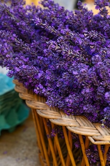 프랑스 프로방스의 소매 진열대에 있는 나무 바구니에 신선한 보라색 라벤더 꽃을 닫으세요