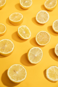 Close-up fresh slices of lemon