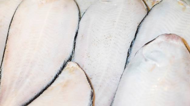 Close-up of freshly cut fish