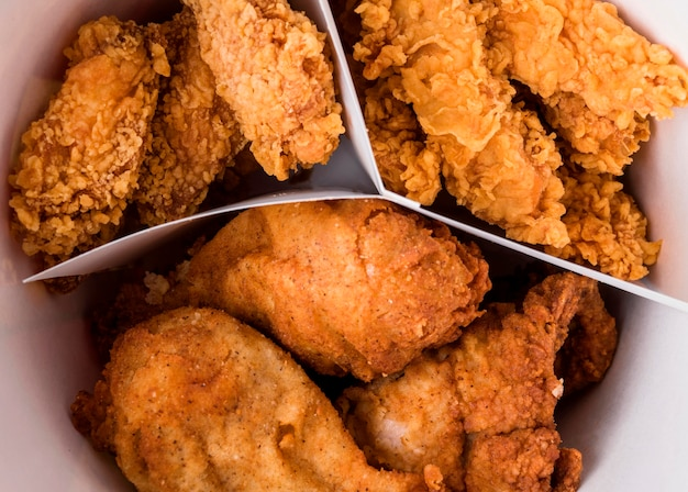 Close-up fried chicken bucket