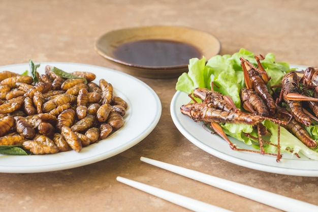 Close up of fried insects in dish with sauce on wooden table.