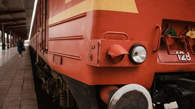 Close-up front of a train on a railway station