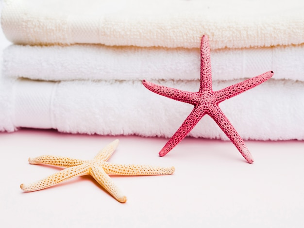 Close up front view seastar on towels