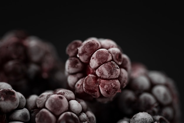 Close-up of frozen blackberry