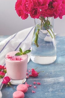 Close up of fruit yougurt smoothie - health living concept