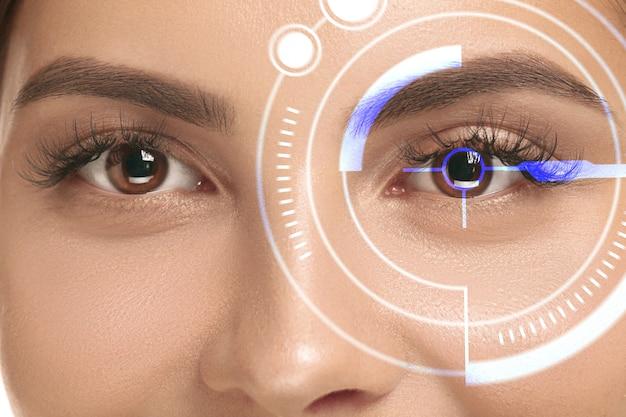 Закройте вверх. будущая женщина с глазной панелью кибертехнологий, интерфейсом киберпространства, концепцией офтальмологии. красивый женский глаз с современной идентификацией, лечение для фокуса. визуальные эффекты.