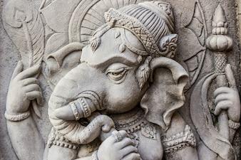 Close up ganesh hindu god face.