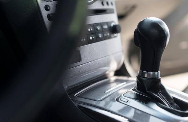 Close-up gear shifter from a modern car