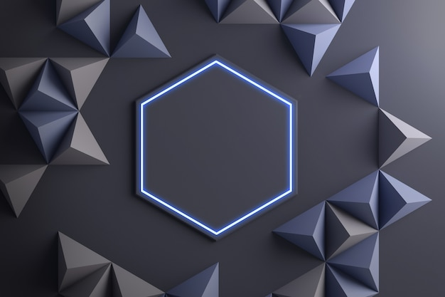 Close up of geometric shapes abstract 3d illustration