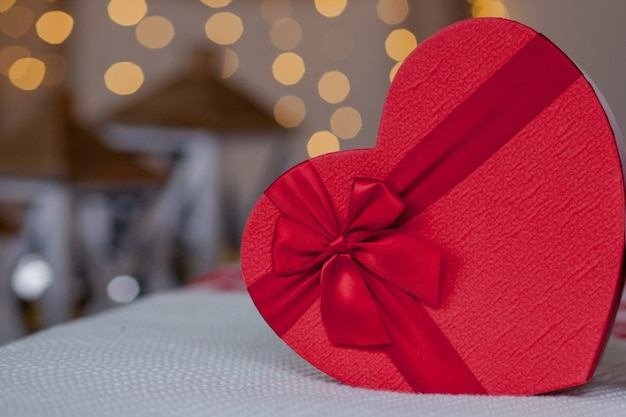 Close up of gift boxes in heart shaped. heart shaped gift boxes on valentine's day .