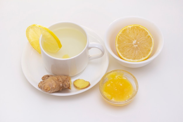 Close up on ginger tea with lemon and honey