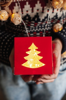 Close-up girl holding gift and lights