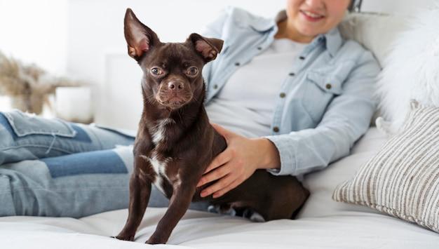 Крупным планом девушка в постели с собакой