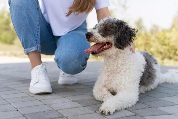 Крупным планом девушка с милой собакой