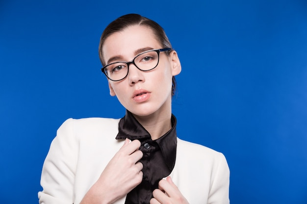 Close-up of a girl with glasses
