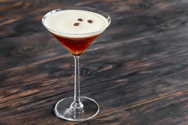 Close up on glass of espresso martini cocktail