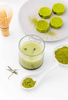 Close-up glass with delicious matcha tea