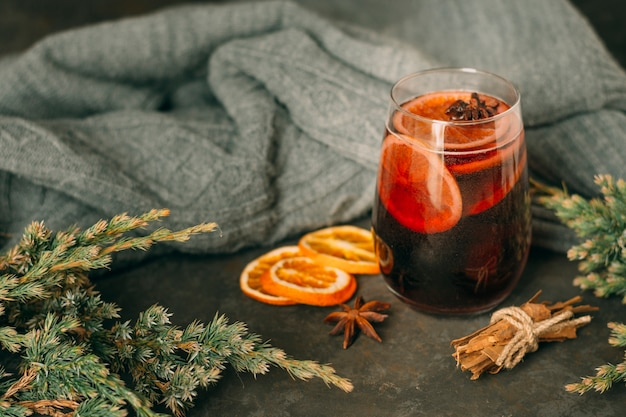 Close-up glass with mulled wine