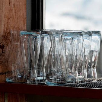 Close-up of glasses on a shelf, whistler, british columbia, canada
