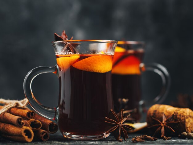 Close up glasses of traditional mulled wine ready to be served
