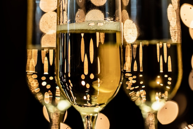 Close-up glasses with champagne