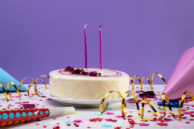 Close-up glazed cake on table