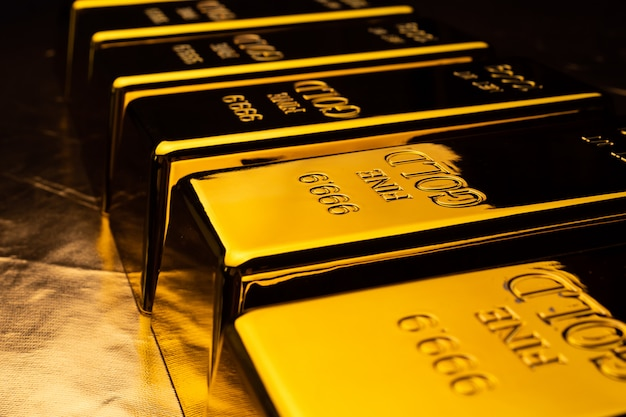 Close up of gold bars. financial concept