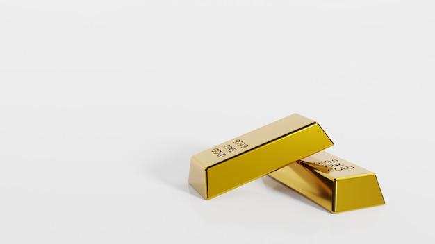 Крупным планом золотые слитки концепции финансового богатства и резервов. инвестиции в драгоценные металлы как средство сбережения. 3d-рендеринг.