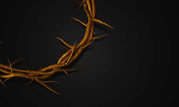 Close up gold crown of thorns 3d rendering empty space