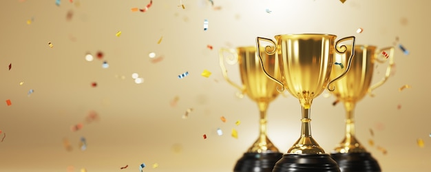 Close up on gold trophy award in 3d rendering