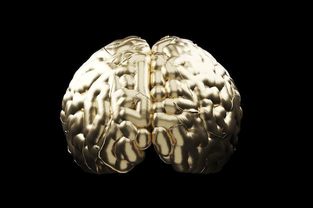 Close up golden brain concept. 3d render.
