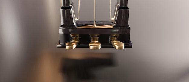 Close-up of golden grand piano pedals